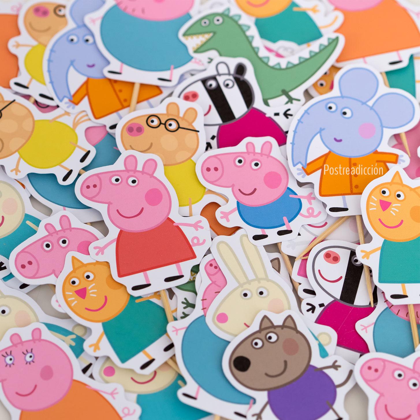 Imagen del producto: 12 toppers de Peppa Pig, familia y amigos