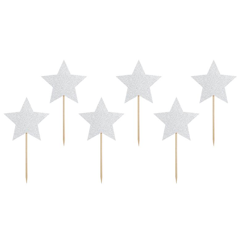 Imagen del producto: 6 toppers de estrellas plateadas