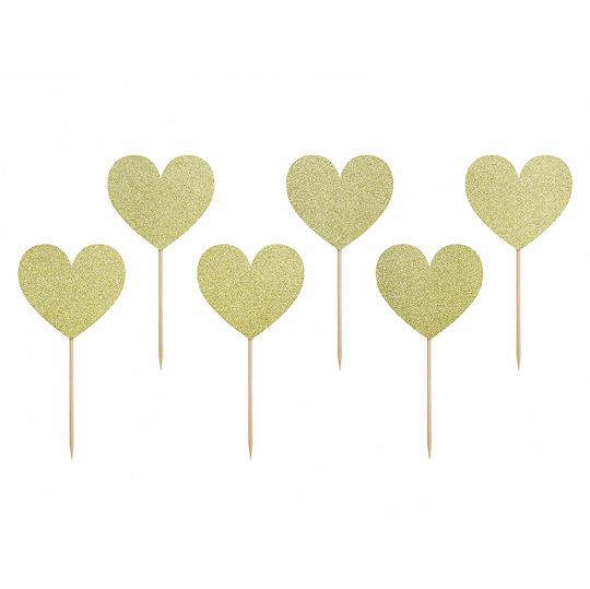 Imagen del producto: 6 toppers de corazones dorados