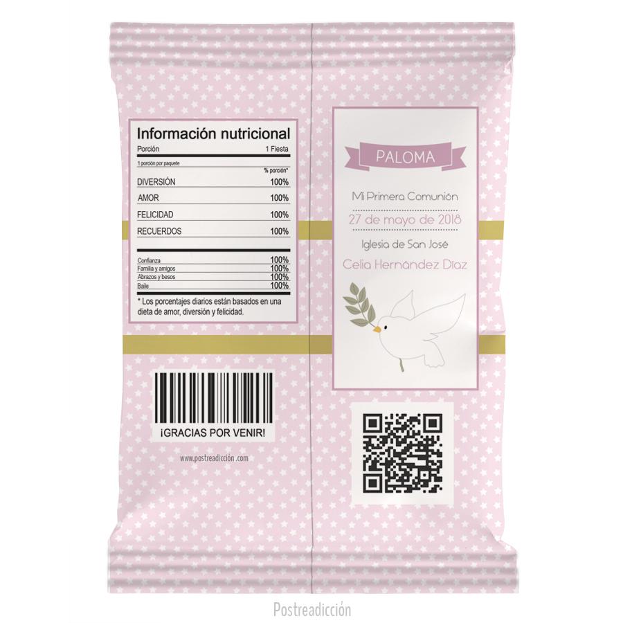 Imagen de producto: https://tienda.postreadiccion.com/img/articulos/secundarias13228-10-bolsas-de-snacks-de-nina-de-comunion-paloma-1.jpg